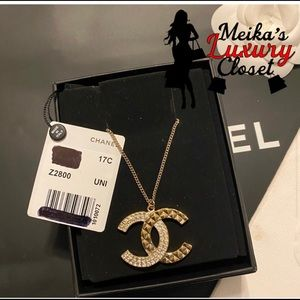 Long sold out chanel cocomark rhinestone necklace